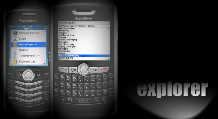 Aerize Explorer for T-mobile BlackBerry Curve 8320 - file,zip,unzip,utility,copy,move,compress,decompress,archive,explorer,manager,bl - BlackBerry File Explorer and Archive Manager, Zip-Unzip Utility, move to-from SD